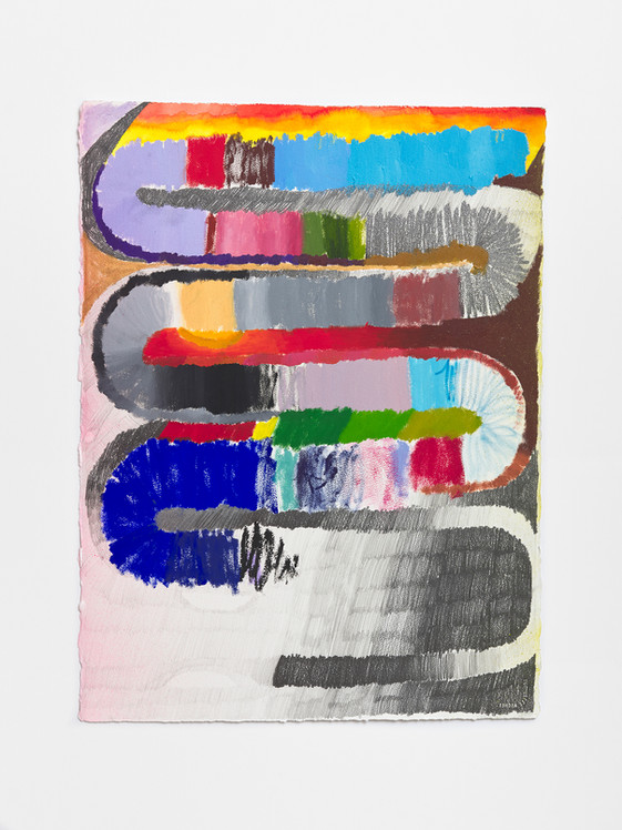 towards, 2020 Watercolor, enamel and paint and graphite on paper 40 x 23 inches