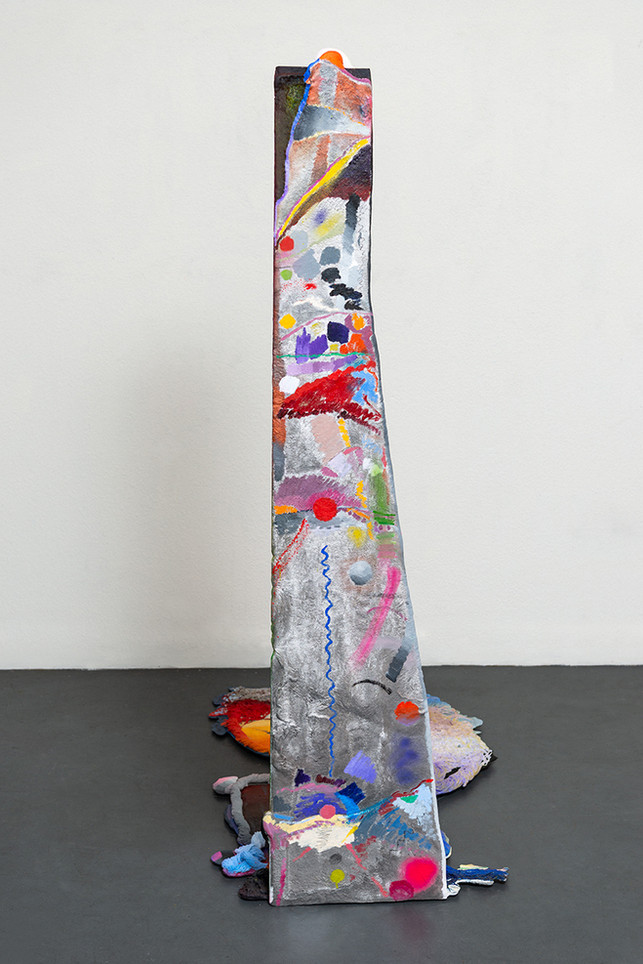 the spilling, pulling, tumbling, seized, surface of things, 2020 Oil and enamel paint, graphite on cast aluminum 70 x 51 x 29 inches