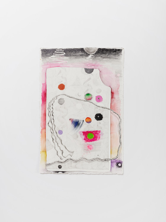 underneath the day, 2021 Oil and enamel paint, graphite on paper 22 x 15 inches