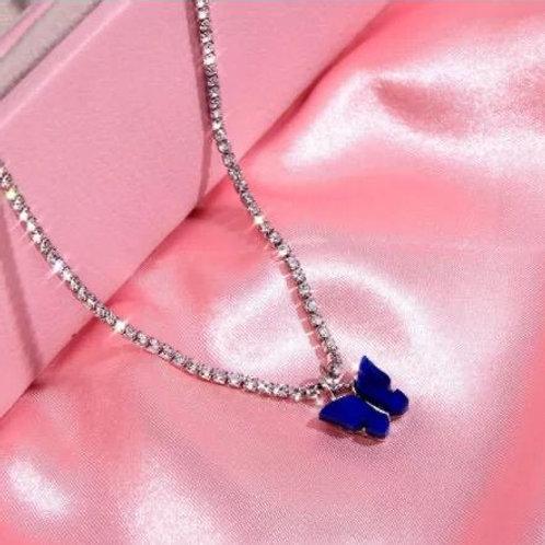 Blue Rhinestone Butterfly Necklace