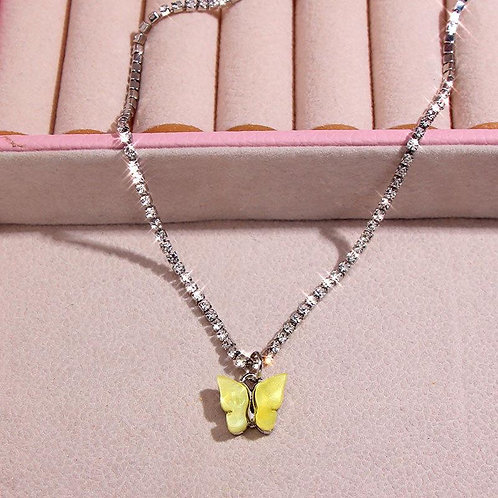 Yellow Rhinestone Butterfly Necklace