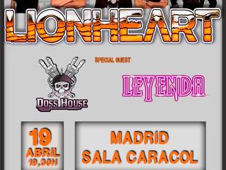 Lionheart -Madrid Date Confirmed 19-4-18