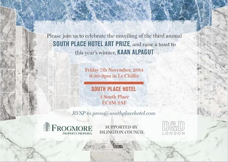 Invitation for the 3rd Annual South Place Hotel Art Prize
