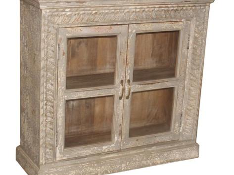 Reclaimed Mango Wood Glass Door Sideboard