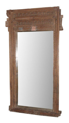 Repurposed Handcarved Antique Door Frame Mirror