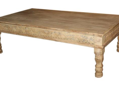 Repurposed Vintage Daybed Coffee Table in Hand Carved Teak Wood