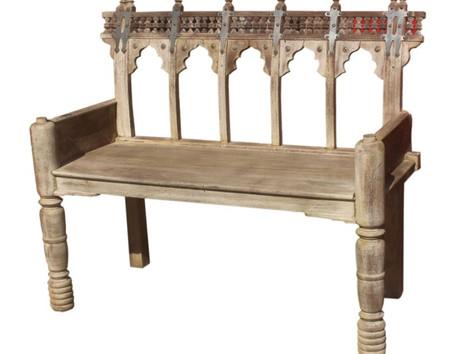 Repurposed Vintage Ox Cart Rails Bench in Teak and Neem Wood