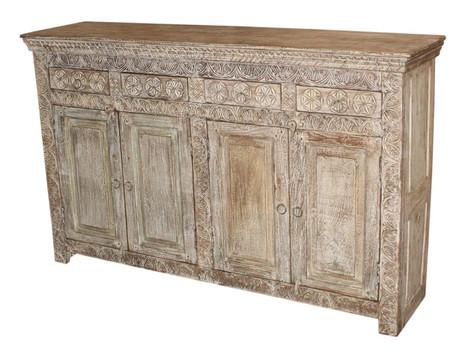 Repurposed Hand Carved Antique Door Panels 4 Drawer Sideboard in Teak Wood
