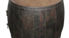 Repurposed Vintage Iron Barrel Table with Teak Wood Top