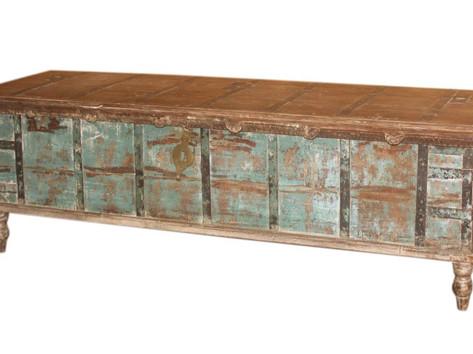 **SOLD** SRepurposed Antique Grain Chest Blanket Box in Teak Wood