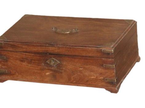 Antique Teak Wood Box with Brass