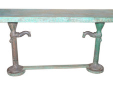 Reclaimed Teak Wood Top with Repurposed Cast Iron Water Pump Legs Console Table