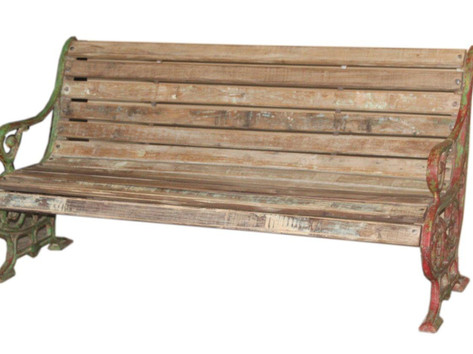 Antique Wrought Iron Bench with Teak Wood