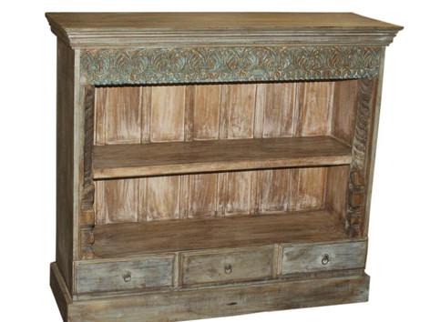 Reclaimed Handcarved 3 Drawer Shelf in Teak Wood