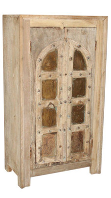 Repurposed Antique Window Shutters Armoire in Teak Wood