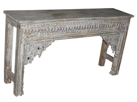 Repurposed Hand Carved Antique Archway Facia Console Table in Teak Wood