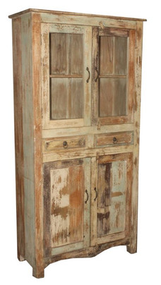 Recycled Wood Two Drawer Glass Pane Door Cabinet