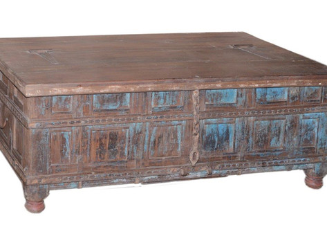 Repurposed Antiqu Damchiya Bridal Chest Coffee Table Chest in Teak Wood