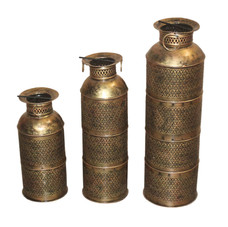 Hand Crafted Iron Candle Lamp Set of 3