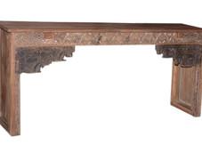 Repurposed Handcarved Antique Door Frame Elements Console Table in Teak Wood