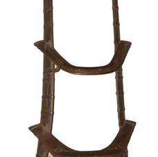 Vintage Brass and Teak Wood Camel Seat Display