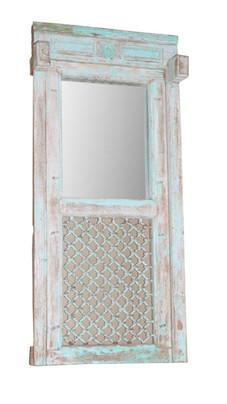 Repurposed Antique Iron Jali Window Frame in Teak Wood
