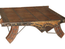 Repurposed Vintage Ox Cart Seat Coffee Table in Teak Wood with Brass Embellishments