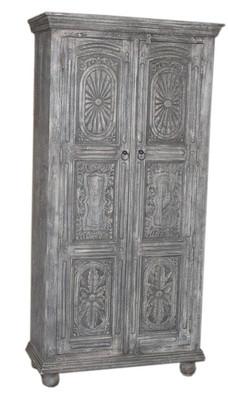 Repurposed Handcarved Antique Door Panels Armoire in Teak Wood