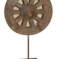 Vintage Teak Wood Cart Wheel on Iron Stand Display