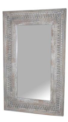 Repurposed Antique Archway Facia Mirror Frame in Teak Wood