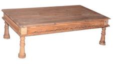 Repurposed Handcarved Antique Daybed Coffee Table in Teak Wood