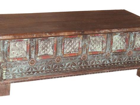 Repurposed Antique Grain Box Coffee Table Chest in Teak Wood