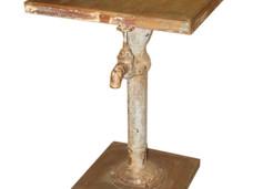 Reclaimed Teak Wood Top with Repurposed Vintage Cast Iron Water Pump Leg End Table