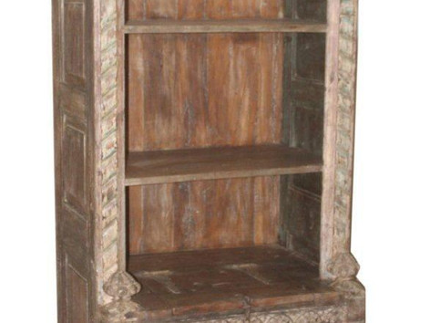 Repurposed Antique Balcony Shelf with Box Storage in Teak Wood