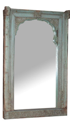 Repurposed Antique Window Frame Mirror in Teak Wood