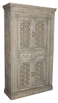 Repurposed Antique Teak Wood Jali Windows Two Drawer Armoire