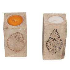 Repurposed Hand Block Print Candle Stand