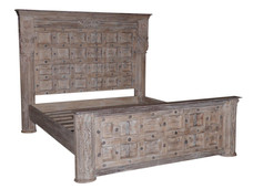 Repurposed Antique Doors and Pillars King Bed in Teak Wood