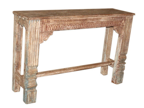Reclaimed Hand Carved Console Table in Teak Wood