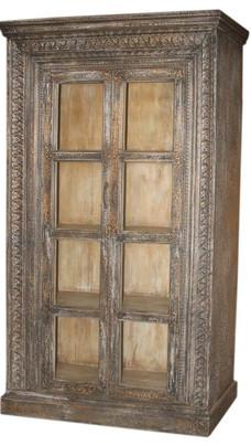 Repurposed Antique Teak and Glass Doors Armoire