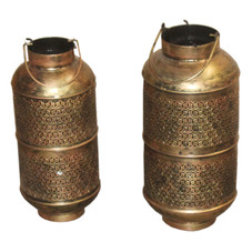 Hand Crafted Iron Candle Lamp Set of 2
