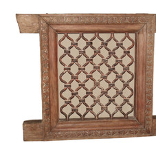 Antique Jali Window in Teak Wood and Cast Iron
