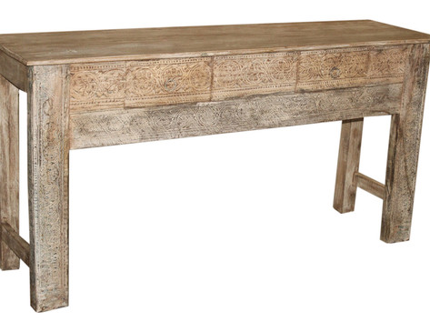 Reclaimed Handcarved Teak Wood 2 Drawer Console Table