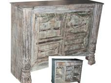 Repurposed Antique Windows and Pillars Bar Counter in Teak Wood