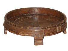 Repurposed Grain Grinder Low Coffee Table in Teak Wood