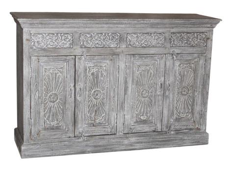 RepurposedHand Carved Elements From an Antique Door 4 Drawer Sideboard in Teak Wood