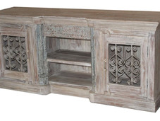 Plasma TV Cabinet in Reclaimed Teak Wood with Repurposed Cast Iron Grill on Doors