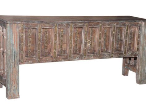 **SOLD** Repurposed Antique Door Console Table in Reclaimed Teak Wood with Brass Embellishments