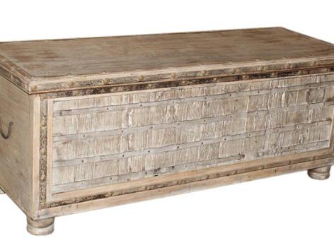 Repurposed Antique Grain Chest Blanket Box in Teak Wood