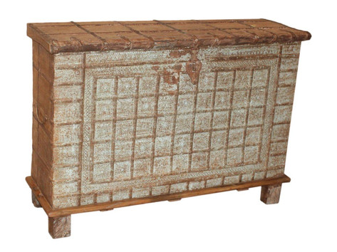 Iron Fitted Antique Grain Chest in Teak Wood
